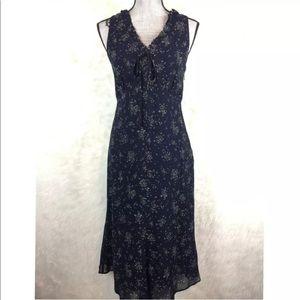 Vintage 90s Carole Little Floral Midi Dress Ruffle